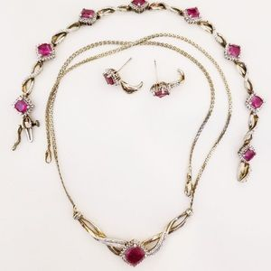 925 silver simulated ruby&white topaz set